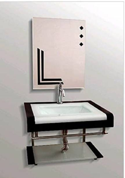 Vision glass Black Line White Wash Basin With Mirror One Self & S.S. Stand Wall Hung Basin
