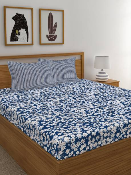 TRIDENT 120 TC Cotton Double Floral Bedsheet