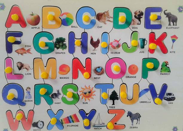 IJARP Wooden Multicolor Alphabet with Picture for Kids with Knob Word Games Board Game