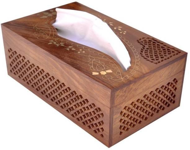 WoodCart 1 Compartments Wooden Handmade Wooden Tissue Box Napkin Holder Cover with Jali & Brass Inlay & Velvet Interior 10 Inch Tissue Holder