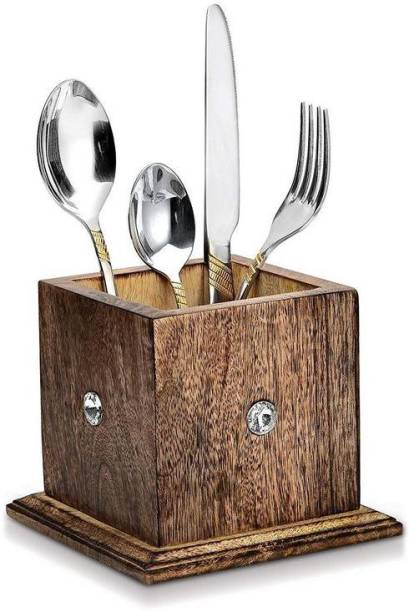 WoodCart 1 Compartments Wooden Wooden Cutlery Holder Stand Organizer Multi Purpose Stand Kitchen Items with Every side Diamond