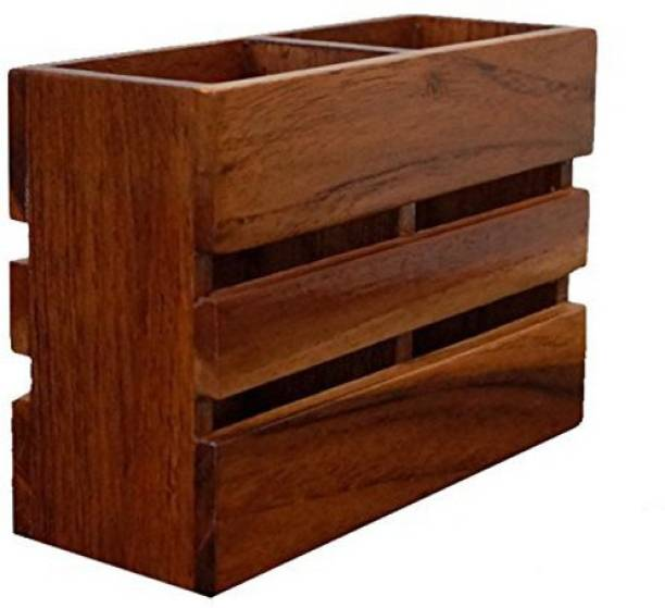 WoodCart 1 Compartments Wooden Handmade Wooden Cutlery Stand/Multi-Holder / Organizer for Dining Table & Kitchen Rosewood Square