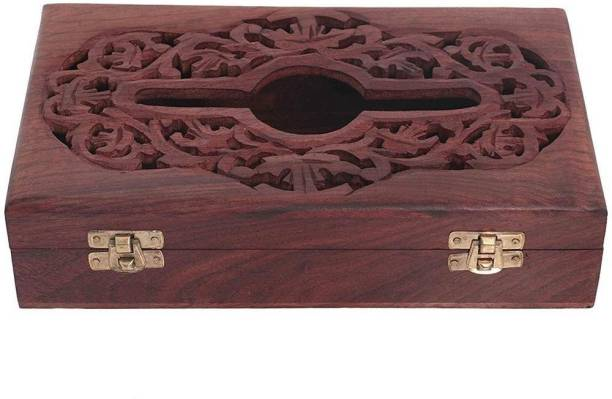 WoodCart 1 Compartments Wooden Handmade Wooden Tissue Box Napkin Holder Cover with Jali & Carving Work 10 Inch Tissue Holder