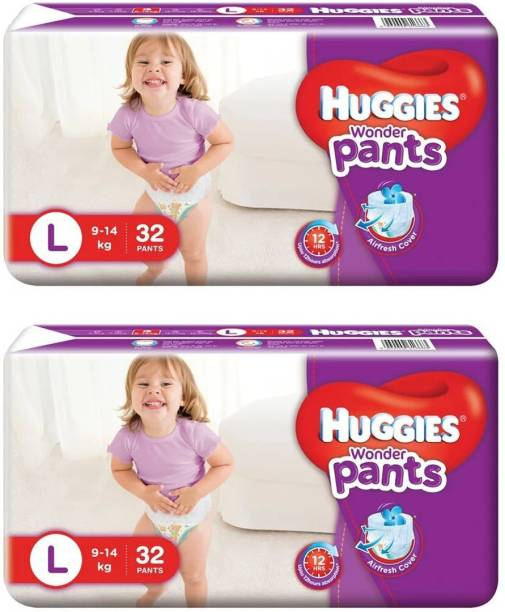 Huggies WONDER BABY PANTS,SIZE LARGE, 32 PCS PACK, COMBO OF 2 PACKS - L