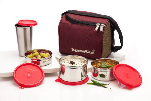 Signoraware Best Steel Lunch Box - 1300 ml 4 Containers Lunch Box