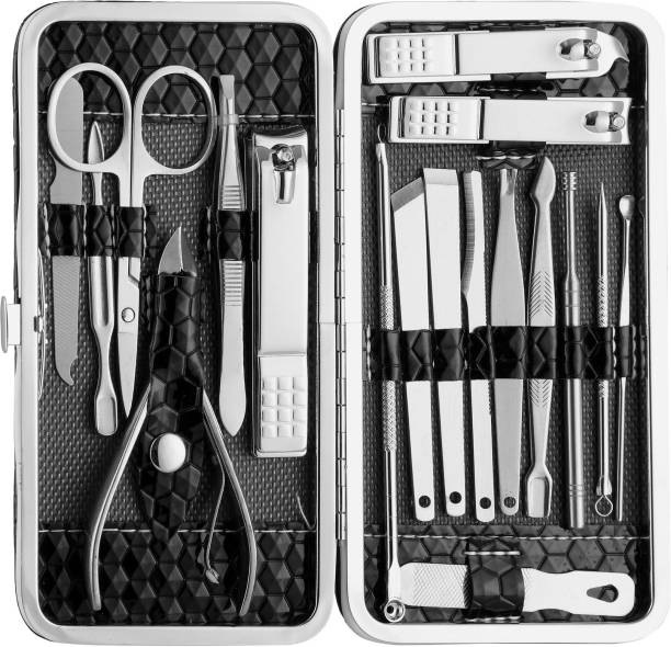 Beauté Secrets 18 in 1 Stainless Steel Manicure Pedicure Set Nail Cutter Scissors Care Set Tweezers Knife Ear Pick Eyebrow Scissors Utility Tools Grooming Kits with Leather Case