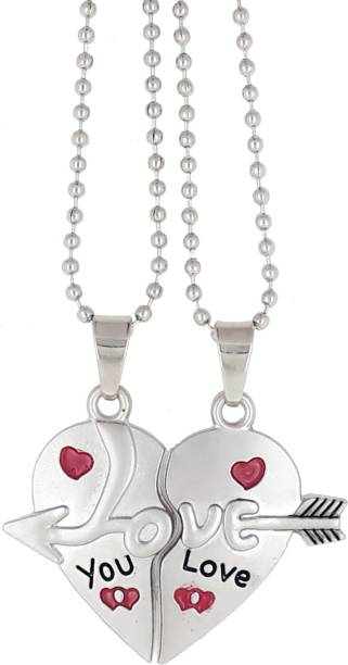 f1b4ddfb93 Saizen Couple Special CHP27 Silver plated Dual Love Heart Pendant Chain for  Girls & Boys Rhodium