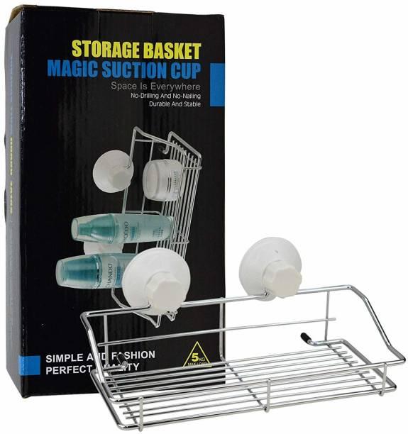 AVMART Multi Purpose Metal Shelves/Basket Stainless Steel Wall Shelf