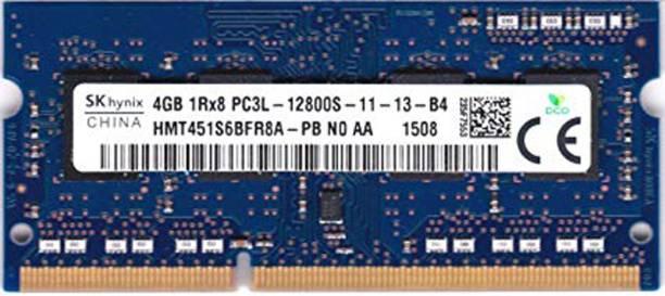 Hynix 1600Mhz low voltage 1.35V DDR3 4 GB (Dual Channel) Laptop (HMT451S6BFR8A-PB , PC3L 12800s)