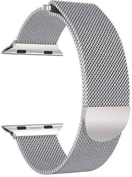 Styleys Milanese Loop Strap for iWatch 42mm, 44mm Stainless Steel Adjustable Magnetic Belt for iWatch Band Series 1/2/3/4 (Silver) Smart Watch Strap