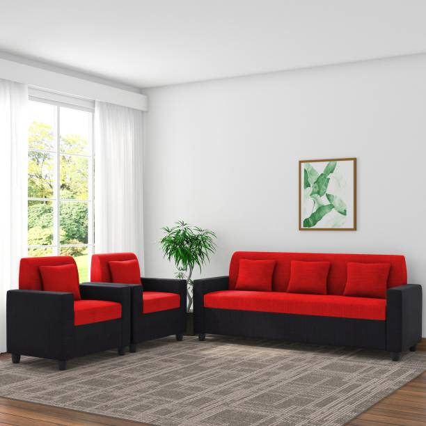 Spaces Therapy Optima Fabric 3 + 1 + 1 Black & Red Sofa Set
