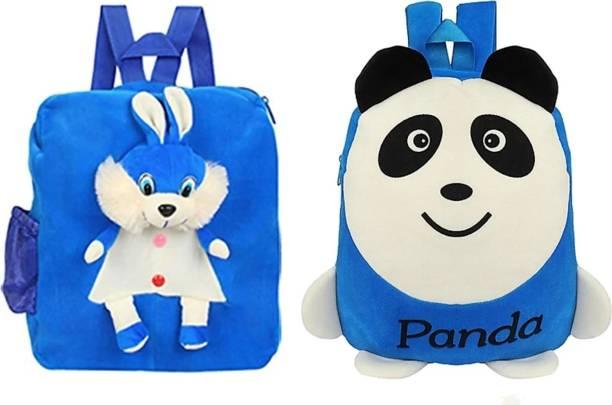 3G Collections Blue L Panda & Rabbit Combo Teddy Bear Soft Toy Kids Plush Bag/ Backpack Bag/ School Bag/ Picnic Bag/ Teddy Bag-Pack of 2 Waterproof School Bag