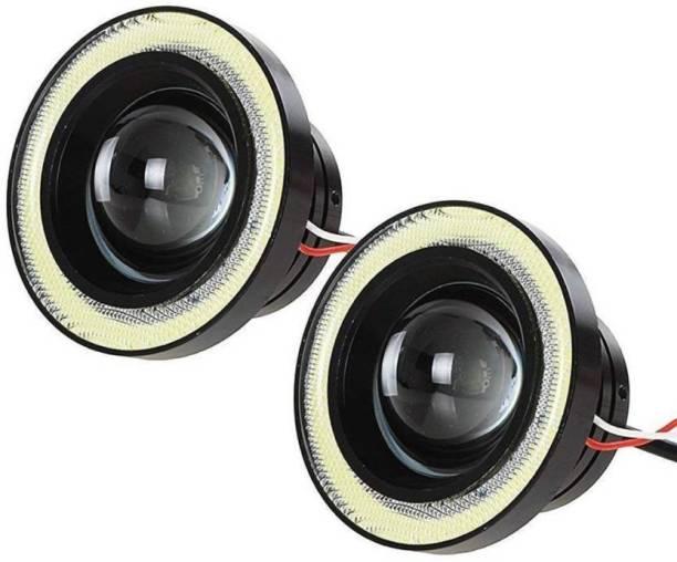 Aayatouch Car 1 Set 3.5 3.0 2.5 inch COB Angel Eyes Fog Lights Led Car Headlight Lamp DRL Universal Daytime running light 89mm 76mm 64mm Car Fancy Lights