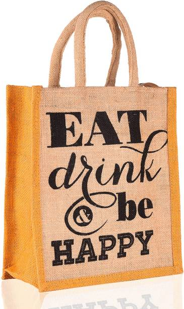 THUNDERFIT Multipurpose Waterproof Jute Lunch Bags with Zip Closure (11 X 9 X 6 - Inch) s-8 Waterproof Lunch Bag
