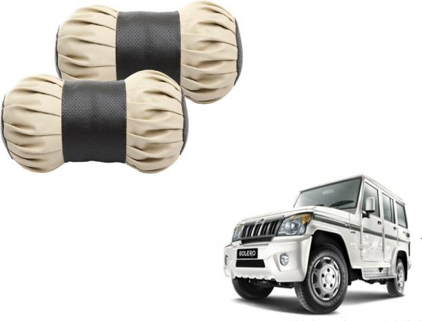 Autyle Beige, Black Cotton, Leatherite Car Pillow Cushion for Mahindra