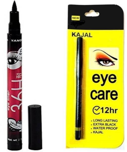 Glamzone Eye Care Kajal with Sketch Pen Eyeliner (Set of 2)