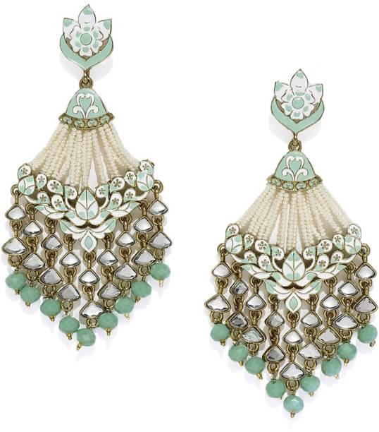 ZAVERI PEARLS Pearls & Meenakari Zinc Drops & Danglers