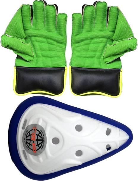 IBEX Practice Wicket Keeping Gloves with Abdominal Guard (Men, Green) Wicket Keeping Gloves