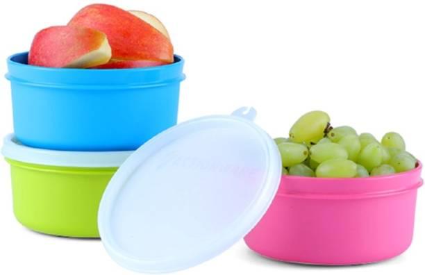T TOPLINE Mini Round Box 350ml (3 Pcs Per 1 Set) 3 Containers Lunch Box (350 ml)  - 350 ml Plastic Fridge Container