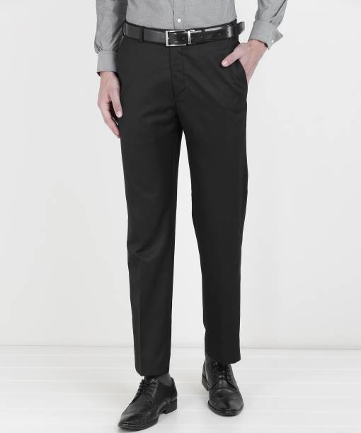 new photos ebe28 79135 Park Avenue Regular Fit Men Black Trousers