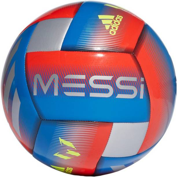 ADIDAS MESSI CAPITANO FOOTBALL - Football Blue, Active Red and Silver Metallic Football - Size: 5