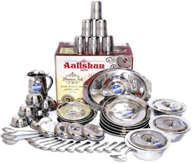 Aalishan Pack of 51 Stainless Steel heavy stainless steel Pack of 51 Dinner Set Dinner Set