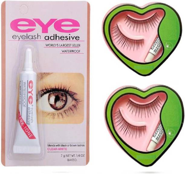 8b25846cf22 Glamzone Combo of Waterproof Eyelash Glue and False Eyelashes (Pack of 3)