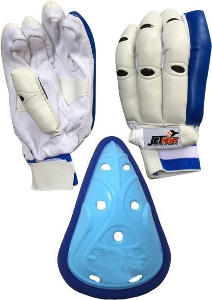 JetFire IBEX Basic Batting Gloves Combo With Blue Abdominal Guard Cricket Kit
