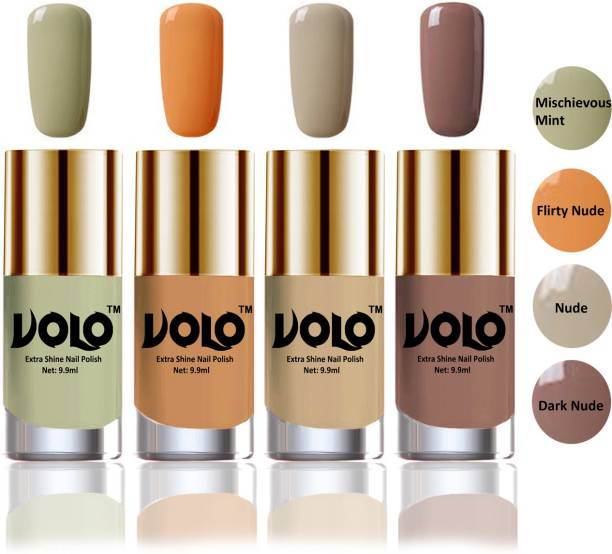 Volo HD Colors High-Shine Long Lasting Non Toxic Professional Nail Polish Set of 4 Combo No-2 Mischievous Mint, Dark Nude, Nude, Flirty Nude