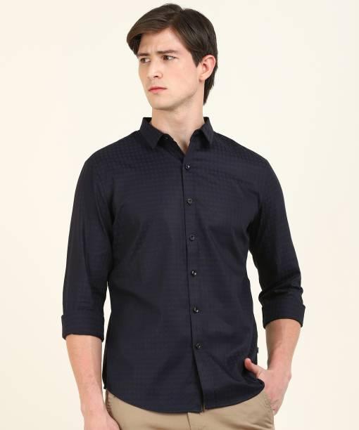 LEVI'S Men Checkered Casual Dark Blue, Black Shirt