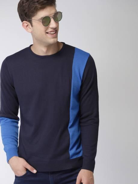 MAST & HARBOUR Solid Round Neck Casual Men Dark Blue Sweater