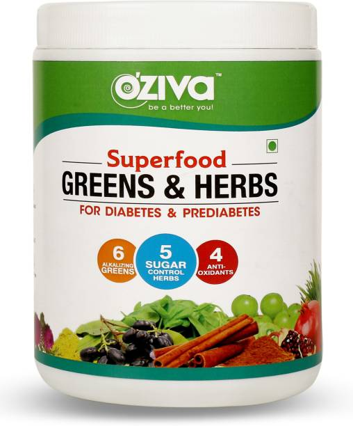 OZiva Superfood Greens & Herbs for Diabetes & Prediabetes for Better Blood Sugar Control