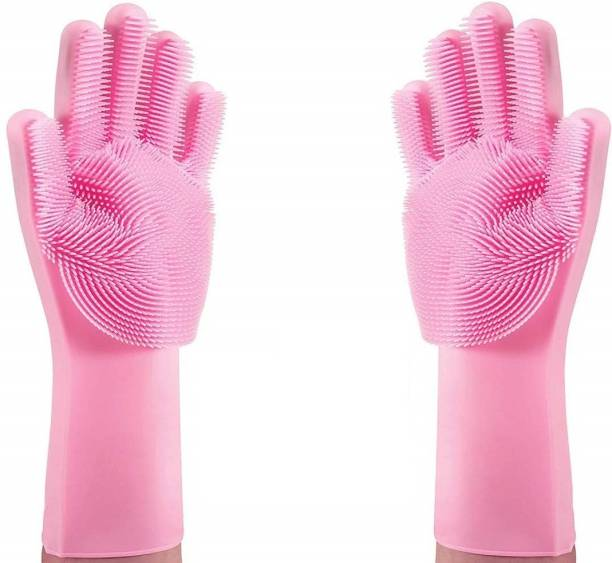 Lazy House Magic Silicone Gloves Scrubbing Gloves for Dishes, Dishwashing Gloves Sith Scrubbers, Dish Gloves for Kitchen-Pink Wet and Dry Glove