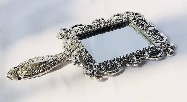 White Box Metal Handheld Mirror with Handle Vintage Compact 03