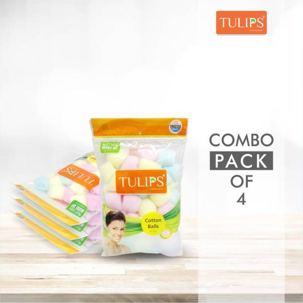 Tulips 50 Colour Soft, Gentle & Skin Friendly Cotton Balls in a Ziplock (Pack of 4)