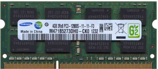 SAMSUNG 1600Mhz, 1.5V Laptop RAM DDR3 4 GB (Dual Channel) Laptop (M471B5273DH0-CK0 , PC3-12800S)