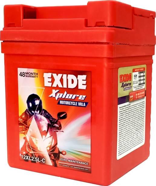 EXIDE Xplore 12XL2.5L-C Motorcycle VRLA 12V, 2.5 Ah Battery for Bike