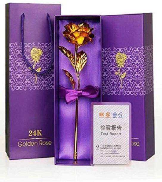 Vihaa Artificial Golden Rose Flower   24K Gold Plated Rose in Gift Box with Carry Bag   Best Valentine's Day, Mother's Day, Friendship's Day, Rose Day, Birthday Gift   Decorative Golden Rose Flower for Home Décor, Golden Gold Rose Artificial Flower
