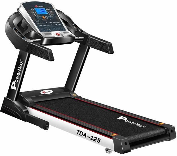Powermax Fitness TDA-125 (2 HP) Smart Run Function, Auto Lubrication & Auto Inclination Motorized Treadmill for Cardio Workout Treadmill