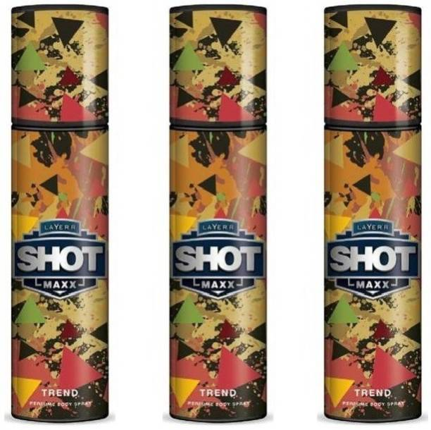 Layer'r Shot MAXX Trend Pack of 3 Perfume Body Spray  -  For Men