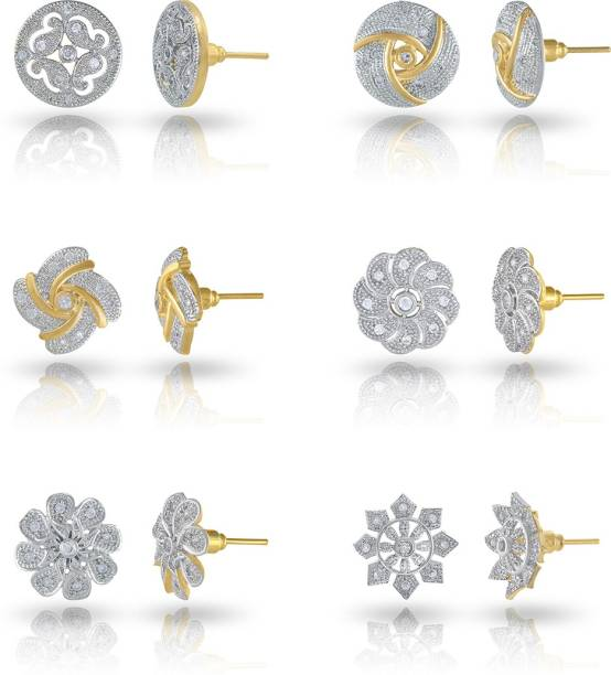 f1d0fdc7c Divastri Combo Of 6 Stylish Crystal 18K Gold Plated Alloy Stud Earring