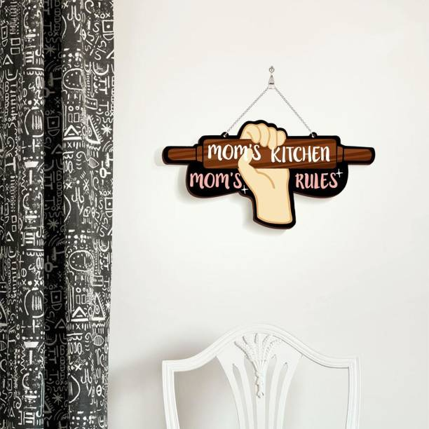 100yellow Wooden Wall Hanging Mom's Kitchen Mom's Rules Name Plate