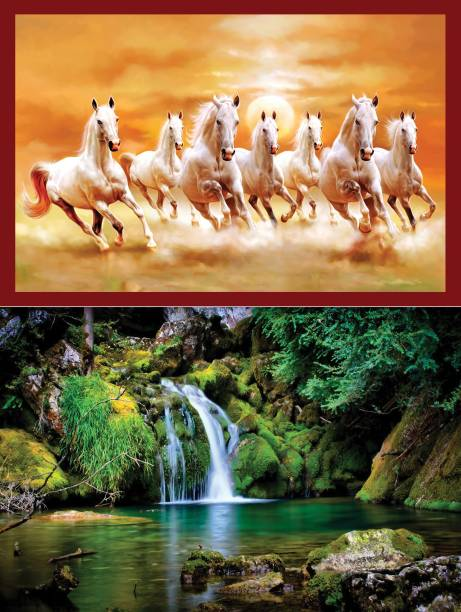 Vastu nano poster white 7 horse running sticker poster + Nature Beautiful Vastu Wallpaper Green Forest Pleasant Water Flow Sticker Wall Frames are not Included - Only Poster Paper Print (12 inch X 18 inch, Only Poster.) ( 2 Combo ) Fine Art Print
