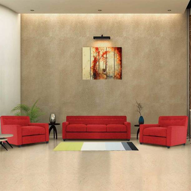 Spaces Therapy Solitaire Fabric 3 + 1 + 1 Red Sofa Set