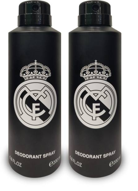Real Madrid BLACK DEODORNAT PACK OF 2 200ml Each Deodorant Spray  -  For Men & Women