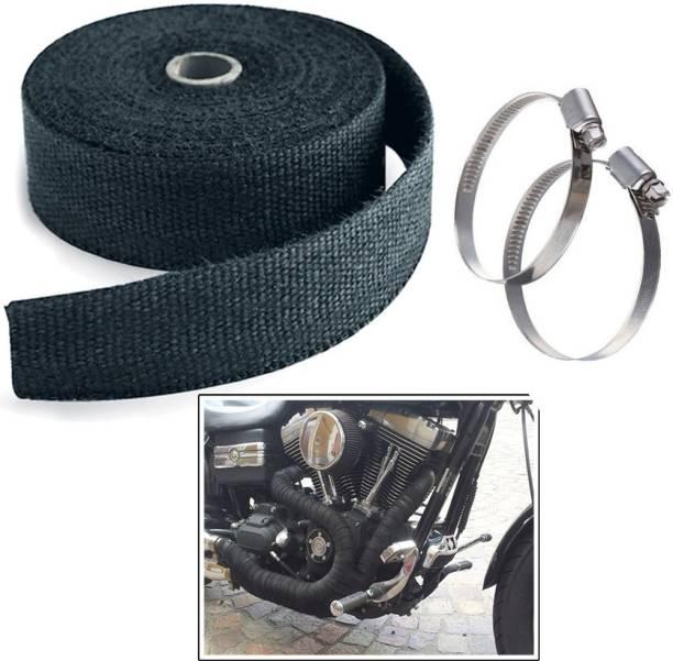 Golden Fox Silencer Wrap Bike Exhaust Wrap Heat Shield Length-3 Mtr Black with Clip Bike Exhaust Heat Shield