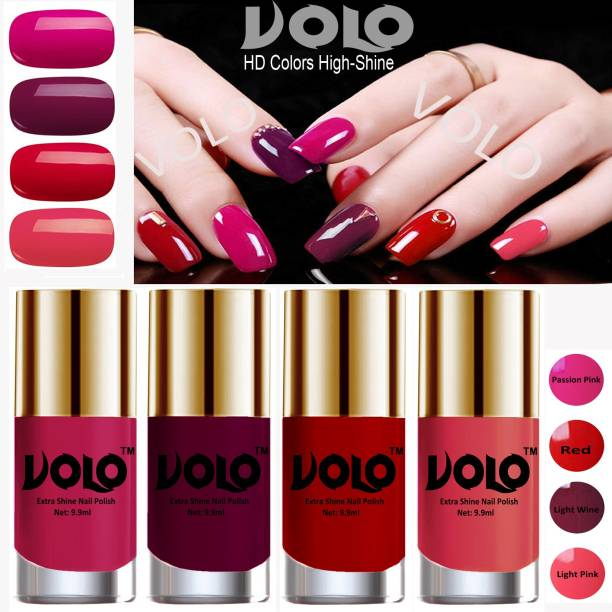 Volo HD Colors High-Shine Long Lasting Non Toxic Professional Nail Polish Set of 4 Light Wine, Red, Passion Pink, Light Pink