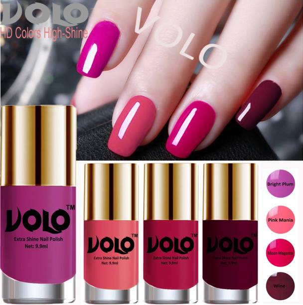 Volo HD Colors High-Shine Long Lasting Non Toxic Professional Nail Polish Set of 4 Bright Plum, Moon Magenta, Wine, Pink Mania