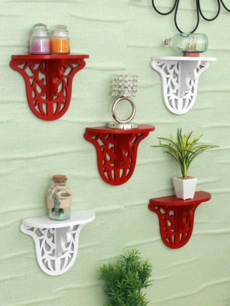 HOME SPARKLE MDF Set of 5 Carved Shelf (Red and White) MDF (Medium Density Fiber) Wall Shelf
