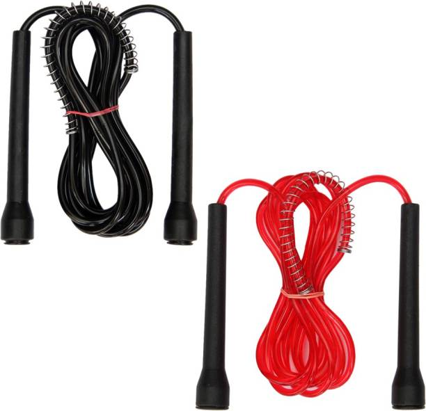 Resh Pack of 2 Pcs (Black / Red) Freestyle Skipping Rope